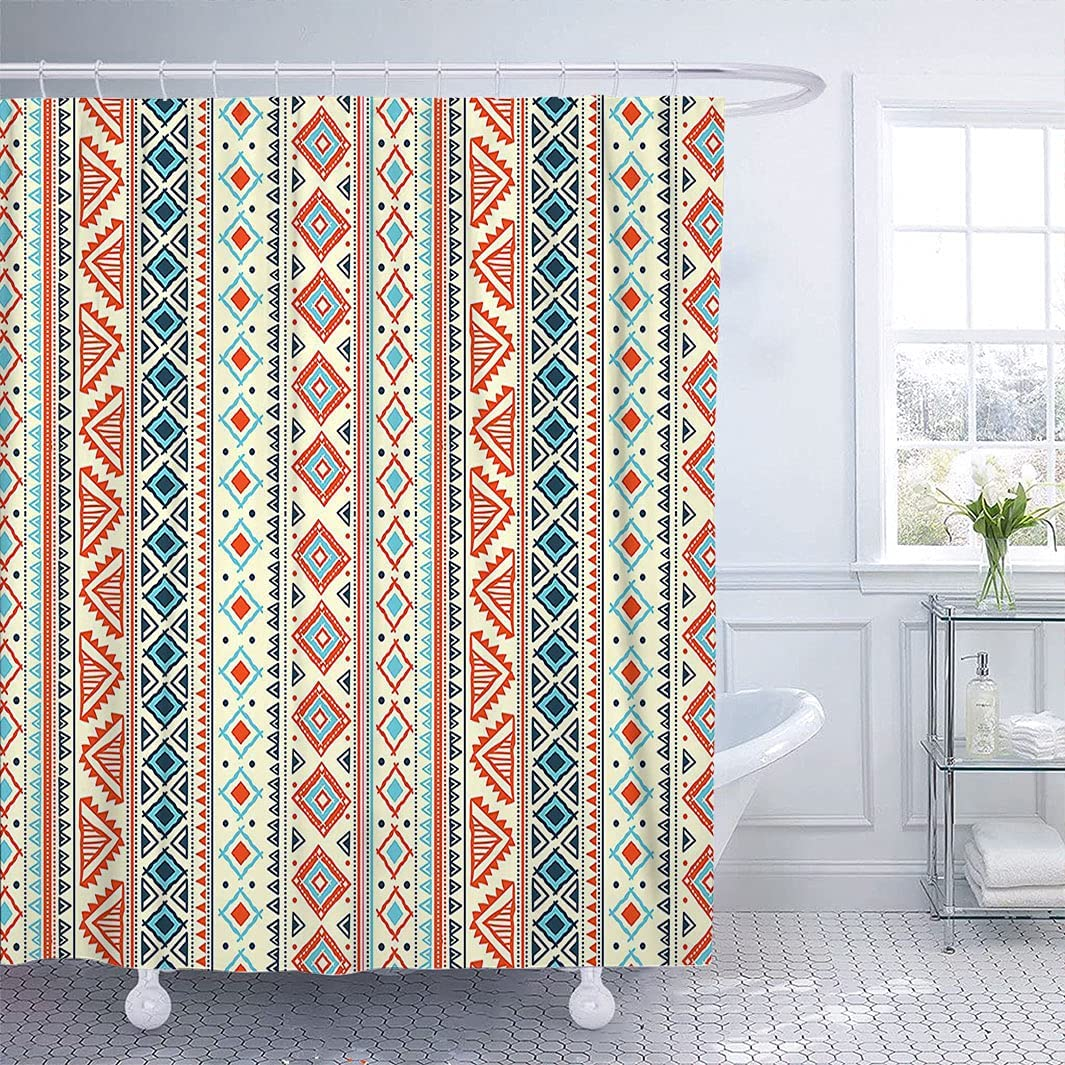 trust Vintage Decor Bath Curtain Mexican Han Retro At the price Pattern Style Aztec