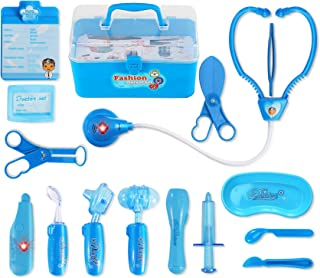 Liberty Imports Kids Doctor Playset - Pretend Play Medical Tools Box Kit for Kids - Educational Toy Gift Set for 3, 4, 5, 6 Year Old Boys, Girls (Blue)
