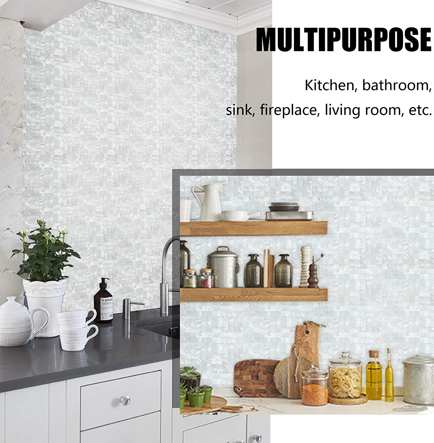 Kasaro Wall Stickers Peel And Stick Mosaic Shell Backsplash Sticker For Bedroom And Bathroom Mother Of Pearl 1 White Wall Stickers Murals Home Decor Accents Rayvoltbike Com