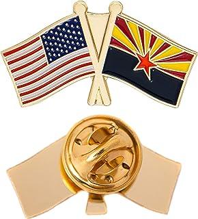Arizona State Double Flag Lapel Pin Enamel with United States USA US Souvenir Hat Men Women Patriotic (Double Flag Pin)