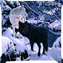 Cushion cover throw pillow case 18 inches black white wolf pack snow forest funny animal both side image zipper