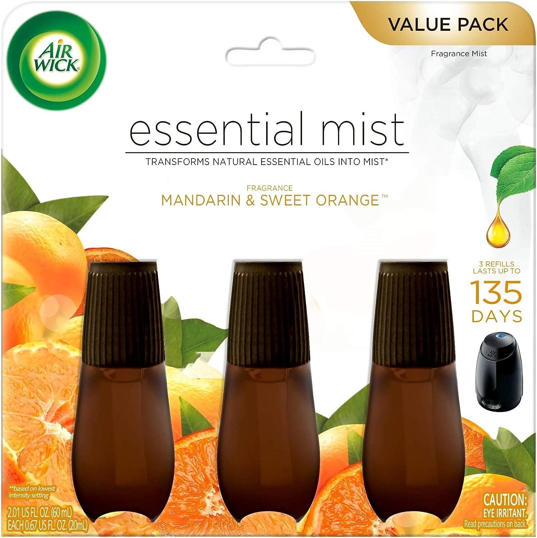 Air Wick Essential Mist, Essential Oils Diffuser, Mandarin and Sweet Tangerine, 3ct, Air Freshener