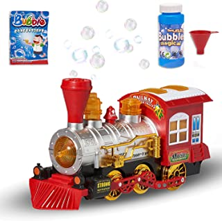 Prextex Steam Locomotive Engine Car Bubble Blowing Bump & Go Toy Train with Lights Sounds and Action Includes 5 Ounce Bottle of Bubble Solution and 2 Packets of Bubble Concentrate Fun for Kids