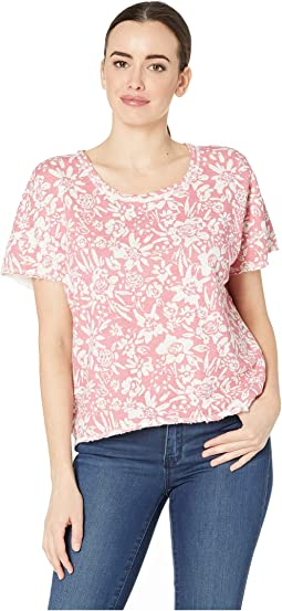 Short Sleeve Boxy Tee in Floral Printed French Terry