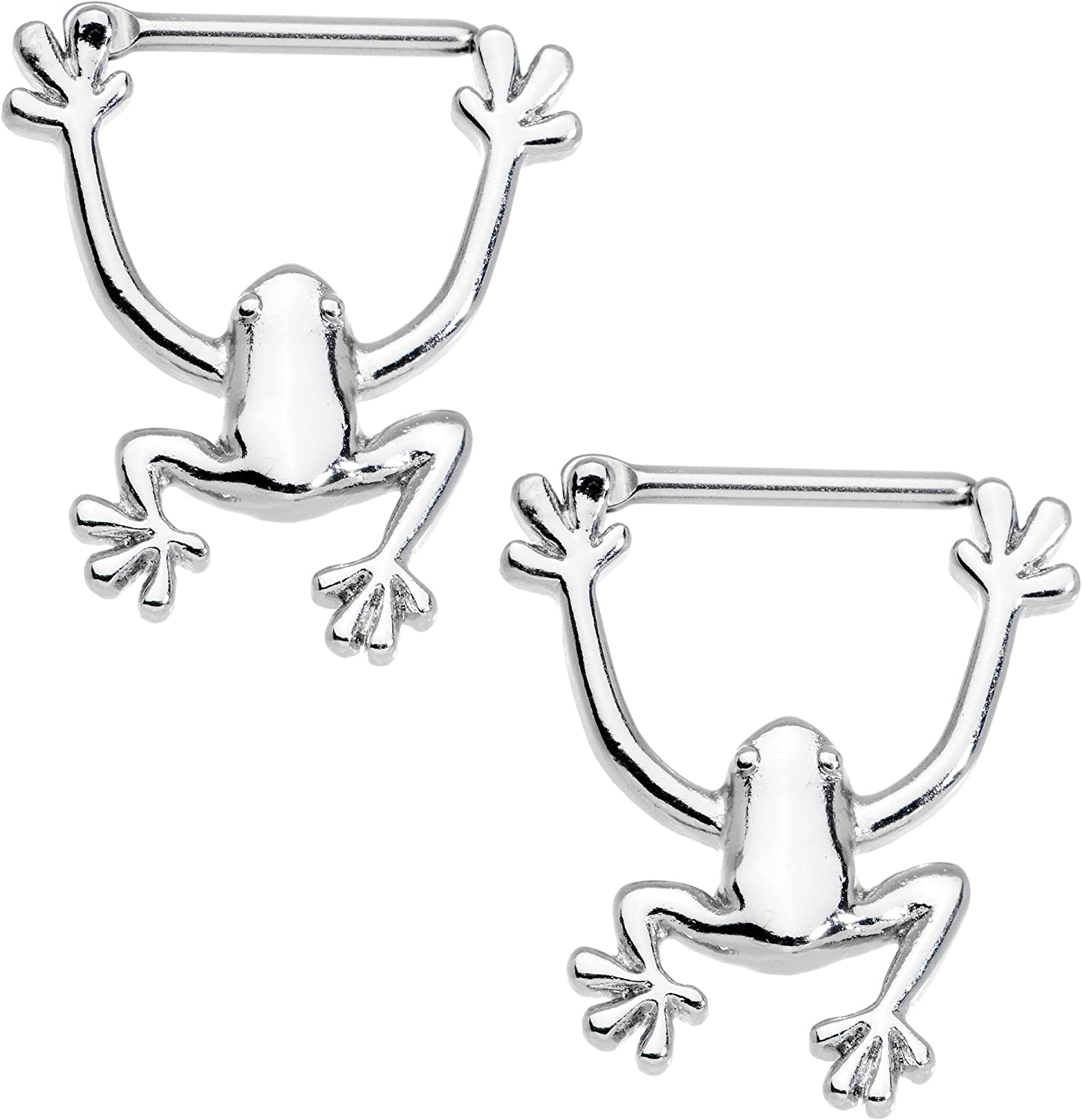 Body Candy Stainless Steel Hang with Me Frog Nipple Clicker Set of 2 14 Gauge 1/2