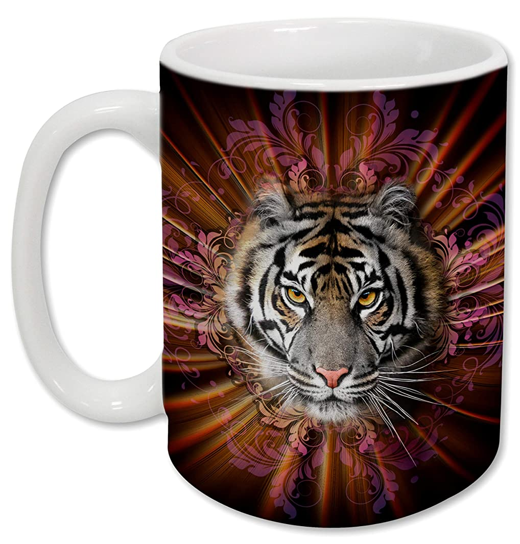 Sweet Gisele   Tiger Mug   Ceramic Coffee Cup   Rich and Vibrant Colors   Perfect Holiday Gift   Dishwasher & Microwave Safe   Great Novelty Item Animal Mugs   15 Fl. Oz