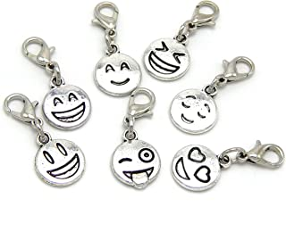 Silver Plated Dangling (Set of 7) Lobster Clasp Different Emoji's Clip on Chain Bracelets