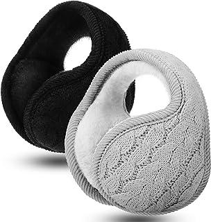 2 Pieces Foldable Ear Warmers Adjustable Knitted Earmuffs with Fuzzy Fleece Lining Unisex Furry Winter Earmuffs