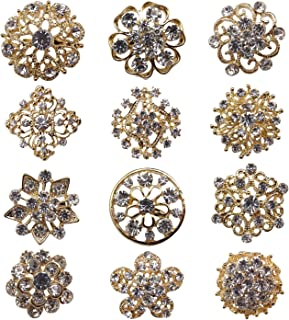 Tooky 12PCS mix set Crystal Button spille sciarpe fibbia Floriated spilla pin strass corpetto bouquet kit lotto all' ingrosso