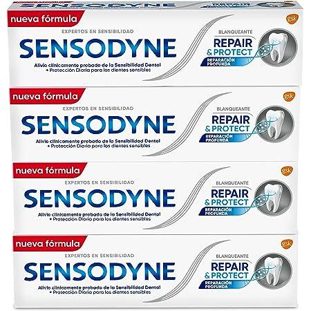 Sensodyne, Blanqueante, Repair & Protect, Pasta de Dientes, Ayuda a Reparar y Proteger los Dientes, Pack de 4 x 75ml