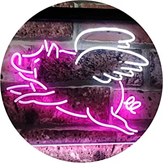 Flying Pig Room Décor Dual Color LED Neon Sign White & Purple 400 x 300mm st6s43-i3110-wp