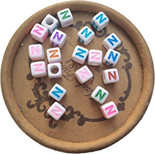 EmmaGreen Colored Cube Letter Single Alphabets Beads for Name Bracelets Jewelry Making 6mm