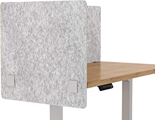 """VaRoom Acoustic Partition, Sound Absorbing Desk Divider – 24"""" W x 24""""H Privacy Desk Mounted Cubicle Panel, Iced Grey"""