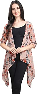 Serein Women's Shrug (Light peach floral print Shrug / Jacket with 3/4th sleeves)-M
