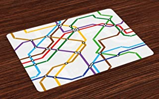 Ambesonne Map Place Mats Set of 4, Stripes in Vibrant Colors Metro Scheme Subway Stations Abstract Railroad Transportation, Washable Fabric Placemats for Dining Room Kitchen Table Decor, Multicolor