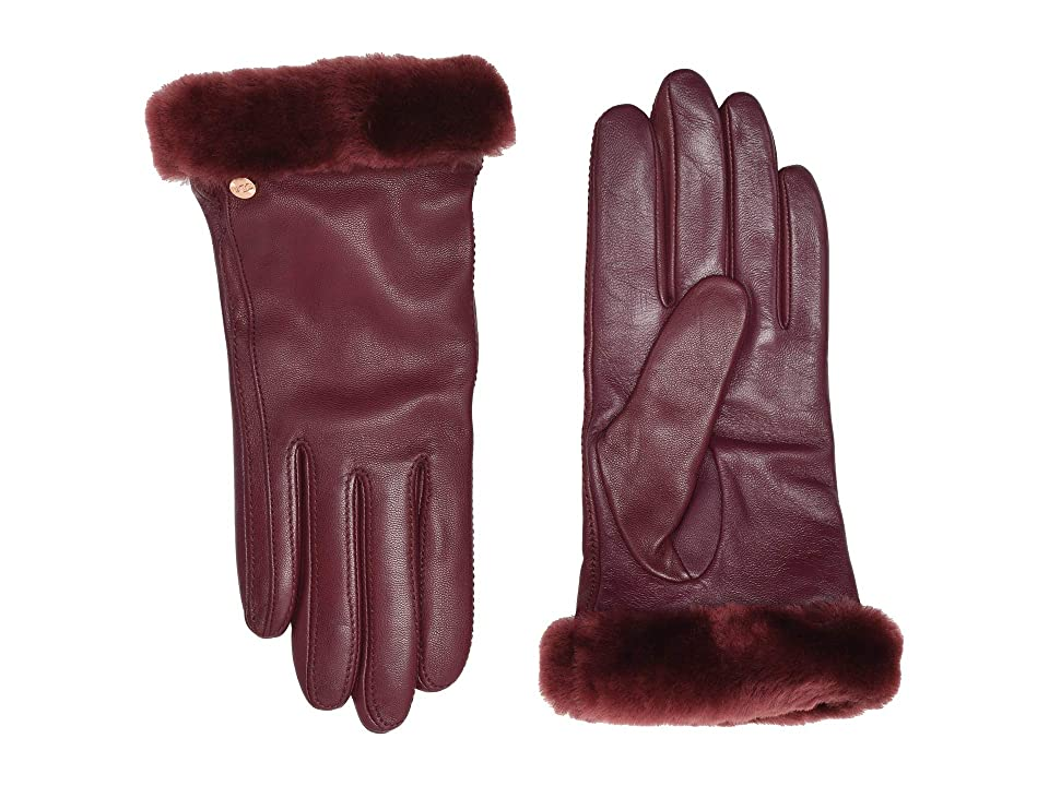 UGG Classic Leather Shorty Tech Gloves (Port) Extreme Cold Weather Gloves