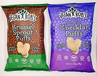 Vegan Robs Puffs Variety Pack Cheddar and Brussel Sprout | Gluten-Free Snack, Plant Based, Vegan, Dairy Free, Zero Trans Fats, Non GMO | 3.5 Ounce Bags (2 Count)