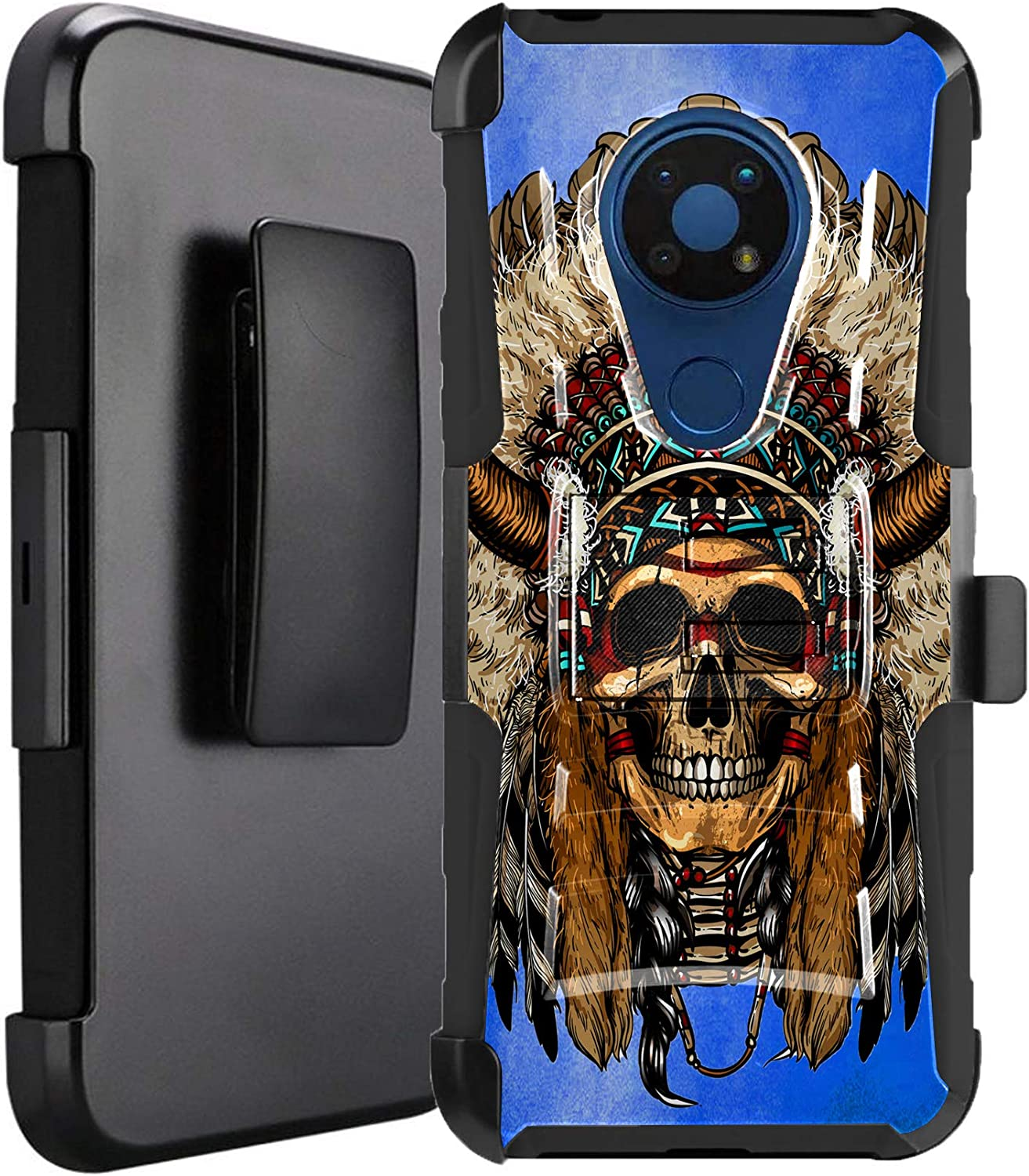 DALUX Hybrid Kickstand Holster Phone Case Compatible with Nokia C5 Endi - Cherokee Chief Skull