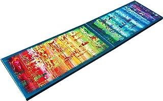 Arco iris y azul abstracto A621 - díptico colorido empaste arte, pinturas abstractas originales del artista Ksavera