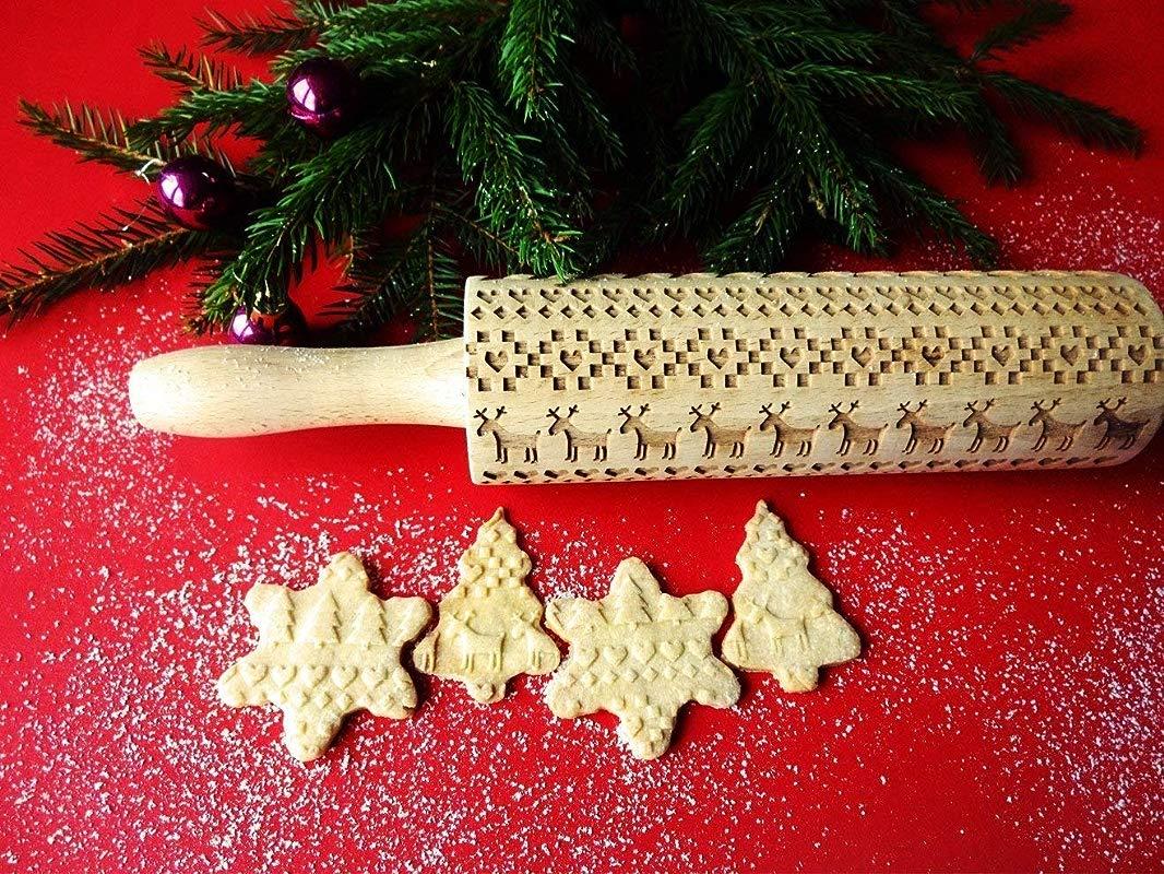 SCANDINAVIAN CHRISTMAS Embossing Rolling Pin Embossing Rolling Pin With Christmas Tree Deer Heart Gingerbread Cookies