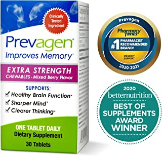 Prevagen Improves Memory - Extra Strength 20mg, 30 Chewables |Mixed Berry| with Apoaequorin & Vitamin D | Brain Supplement...