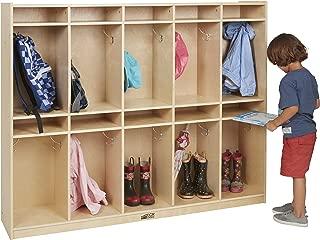 ECR4Kids Birch 10-Section School Classroom Coat Locker for Storage with Hooks
