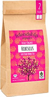 Friendship Organics Pure Hibiscus, Totally Organic and Fair Trade Herbal Tea - Tagless Tea Bags (44 count)