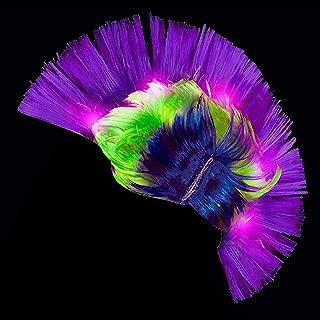 Fun Central LED Light Up Mardi Gras Mohawk Wig Headband for Women & Men