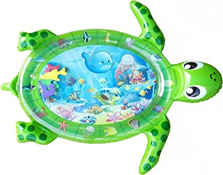 Baby Swagg Inflatable Tummy Water Play Mat Sea Turtle Premium Large BPA Free Baby Infant Toddler Toy with Colored Sea Animals Sensory Fun Play Activity Center Toy Gifts for a Girl or Boy (Green)