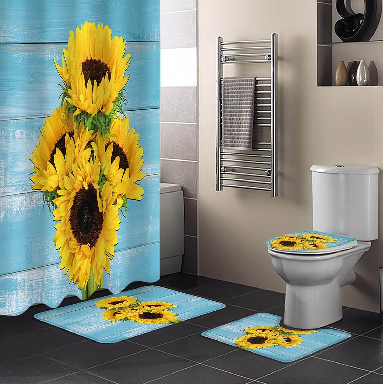 MUSEDAY 4 Piece Shower Curtain Sets Miami Mall New Free Shipping Toilet Non-Slip with Rugs L