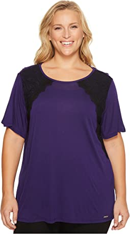 Plus Size Lace Short Sleeve Crew Neck Top