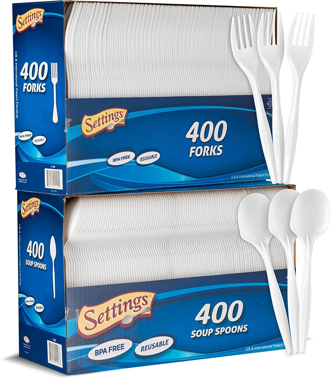 Setting Plastic 400 Forks and 400 Spoons White