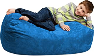 Chill Sack Bean Bag Chair: Large 4' Memory Foam Furniture Bag and Large Lounger - Big Sofa with Soft Micro Fiber Cover - Royal Blue