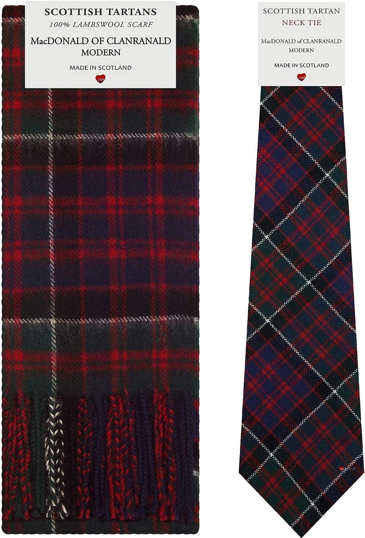 MacDonald of Clanranald Modern Tartan Plaid 100% Lambswool Scarf & Tie Gift Set
