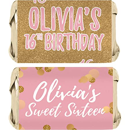Chic 16th Birthday Party \u2013 Pink Sweet 16-30 Count and Gold Address Labels Personalized Return Address Sticker Black