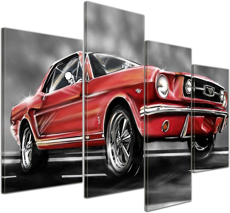 Kunstdruck - - - Mustang Graphic - rot - Bild auf Leinwand - 120x80 cm 4 teilig - Leinwandbilder - Motorisiert - Oldtimer - Klassiker - Amerika B00UATRW0M 383c67