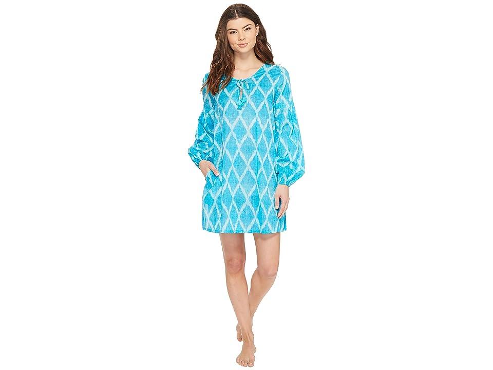 Natori Ikat Diamond Peasant Shirt (Blue Breeze) Women