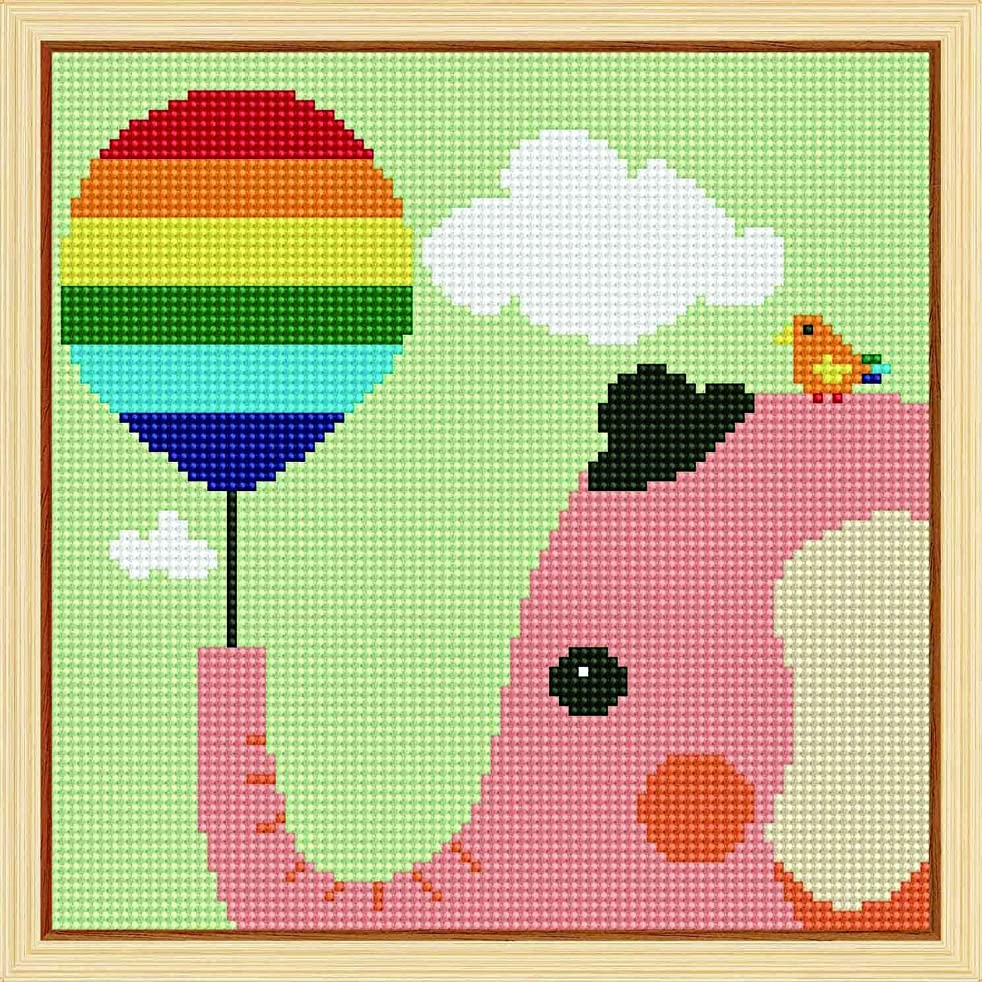 5D Diamond Painting, Full Drill 5d Diamond Painting Kit for Kids Rhinestone Embroidery Cross Stitch Arts Craft, Cute Elephant 11x11 inches (Framed Canvas)