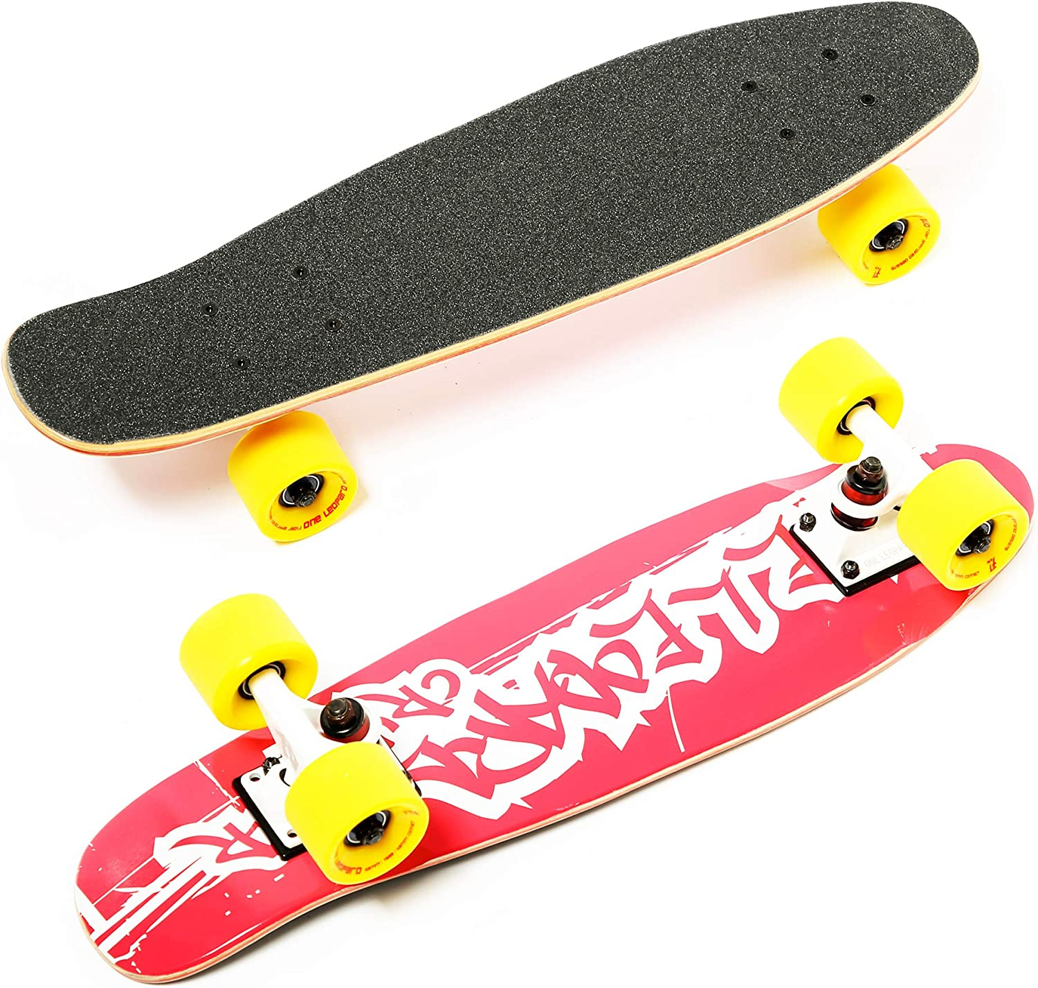 Battleship 23 Inch Complete Skateboard for Kids Teens /& Adults One Leopard Mini Cruiser Skateboard Resin 7 PLY Canadian Hard Rock Maple Kicktail Deck Concave Trick Skateboard T-Tool /& Skateboard Stickers /& Carry Bag Included PU Wheels w//o LED Light