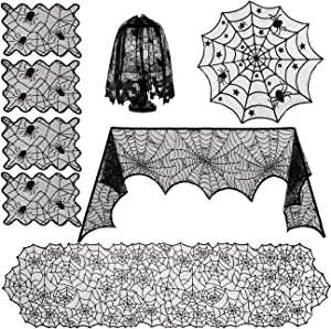 Sunnyglade 8 Pack Halloween Spider Cobweb Lace Tablecloth Set,Fireplace Mantel Scarf & Lace Table Runner & Round Table Cover & Spider Lampshade & Rectangular Placemat for Halloween Party Decorations