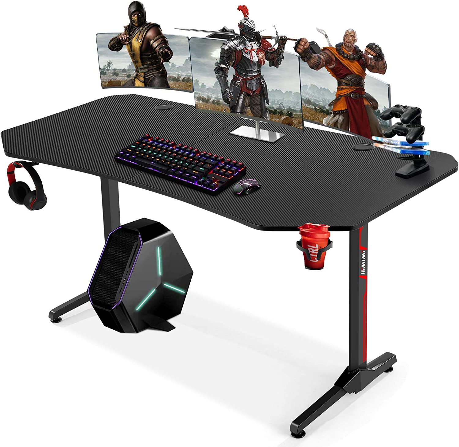 SALENEW very popular 63 Inch Ergonomic Gaming Desk Wo T-Shaped Computer Great interest PC Game