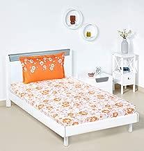 Amazon Brand - Solimo Jasmine Zest 144 TC 100% Cotton Single Bedsheet with 1 Pillow Cover, Orange