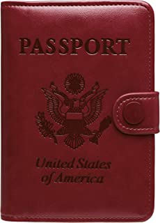 Ababuli Passport Cover Holder Leather Travel Wallet RFID Blocking Card Case