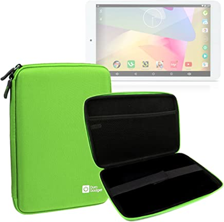 DURAGADGET Green Rigid Protective Armoured Case with Netted Interior Pocket and Elasticated Strap for New iRULU Walknbook 8.95 inch & iRULU eXpro 1S