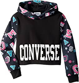 Converse Kids - Printed Cropped Pullover (Big Kids)