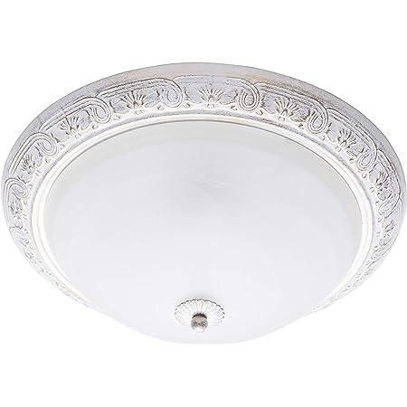 MW-Light 450013703 Plafonnier Rond Antique Design Classique en Métal Blanc Doré et Verre Mat pour Salon Chambre Couloir Salle de Bains Bas Plafond 3x60W E27