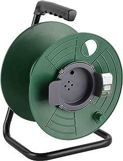 Electraline 94015, Enrouleur Vide, Mesure jusqu'à 50 mètres, sans câble, Convient à la Maison/au Bureau/au Jardin, Vert foncé