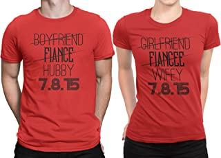 Hubby Wifey Newly Married Couple Matching T-Shirt Honeymoon Valentines Day