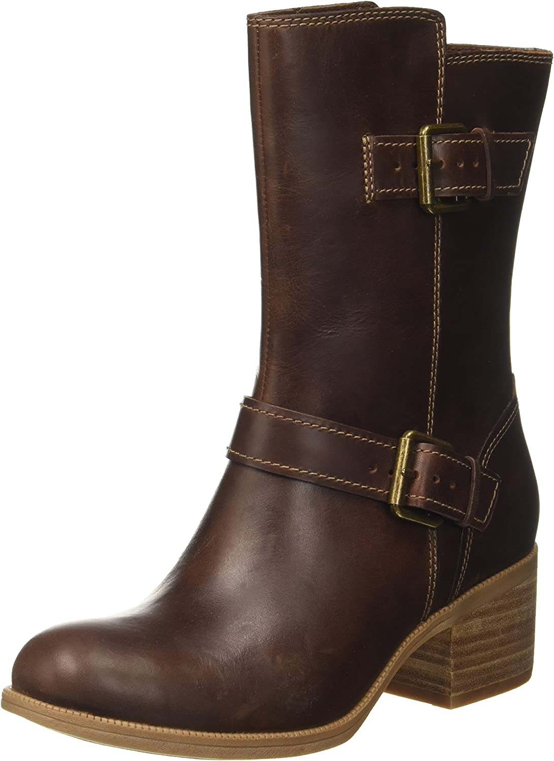 Clarks Maypearl Oasis - Dark Tan Leather (Brown) Womens Boots