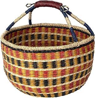 Panier Bolga en osier tressé panier de pique-nique vide en paille avec poignées,Cercle en saule panier de Pâques panier de...